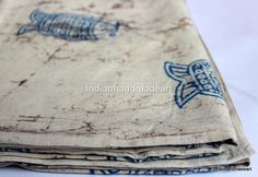 2.5 Yard Indian Dabu Print Pure Cotton Hand Block Print Fabric 06 #Handmade