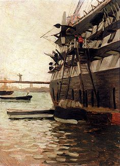 Learn more about The Hull Of A Battle Ship James Jacques Joseph Tissot - oil artwork, painted by one of the most celebrated masters in the history of art. Hulk, Joseph, Portraits From Photos, France, Tall Ships, Royal Navy, French Artists, Battleship, Art Reproductions