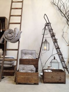 "I like the idea of old ladders against a wall - but I'm not sold on these ""storage"" ideas for them. Anyone have others?"