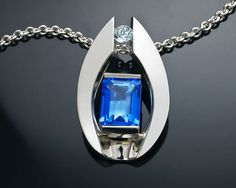 Argentium silver, cobalt and sky blue topaz pendant designed by David Worcester for VerbenaPlaceJewelry.Etsy.com
