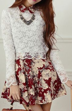 Lace top and floral bottom dress