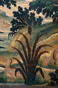 Verdure (lush, green) tapestry (detail), manufactured by Aubusson, France, 18th century