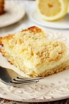 Lemon Cream Cheese Crumb Cake - fluffy lemon cake with a creamy cheesecake layer and a crumb topping. 13 Desserts, Potluck Desserts, Desserts For A Crowd, Lemon Desserts, Lemon Recipes, Baking Recipes, Sweet Recipes, Delicious Desserts, Cake Recipes