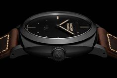 """The @paneraiofficial Radiomir 1940 3 Days Ceramica's black dial is constructed in Panerai's hallmark """"sandwich"""" style, comprised of two superimposed plates with a layer of luminous material between them, a design the company started using way back in the late 1930s.   #panerai #watchtime #luxurywatch #watchgeek"""