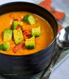 Sweet Potato Soup (in a Flash!) Avocado on top. Chipotle + Citrus.