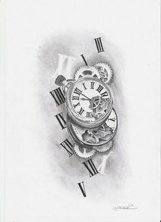 R Daddy Tattoos, Elbow Tattoos, Tattoos For Guys, Watch Tattoos, Time Tattoos, Body Art Tattoos, Tattoo Sleeve Designs, Tattoo Designs Men, Sleeve Tattoos