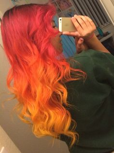 Red orange ombre hair ♥