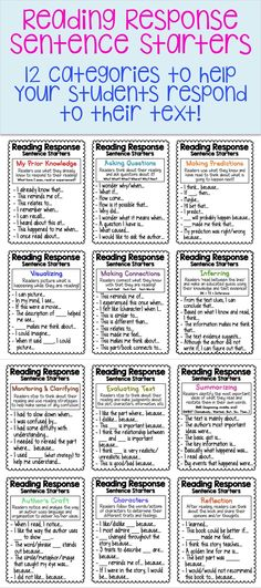 Over 80 sentence starters among 12 different categories! Perfect for Reading Response Journals! Includes small and large charts.