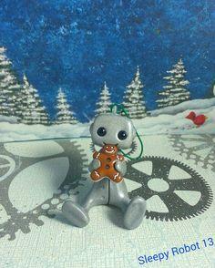 Gingerbread Man Fan Robot Ornament by sleepyrobot13 on Etsy