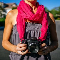 Would be a great gift for my photographer friends they could match them up when they take pictures for weddings! Camera Scarf  The Jenny by CameraScarf on Etsy