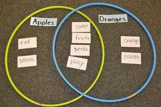 Use Hula-Hoops to Create a Venn Diagram...can create one together as a class, then write ideas on index cards that can be sorted during literacy center using hoops as venn diagram (comparing community helpers, insects)