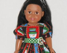 18 inch Doll Clothes Christmas Dress with Santa and Snowmen fits AG dolls