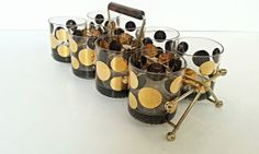 Gorgeous set, wedding gift. MCM Lowball Glasses and Caddy  Gold Tone  by HingeModernVintage, $83.00