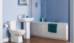 Minimalist  Blue Bathroom Wiith White Cabinets That Has  Blue Towel And Also Wall Tiles Can Add The Beauty Inside The Modern Bathroom Design Ideas That Nice