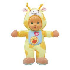 Weet jij waar giraffen van dromen? Van heerlijke blaadjes hoog in de bomen. De Little Love Dieren Knuffelpop - Giraf van VTech vindt het leuk om met jou te knuffelen en spelletjes te spelen. Druk op de toetsen en maak kennis met interessante dierenweetjes, tellen en ...