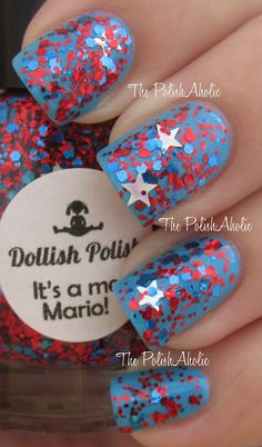 Dollish Polish, It's A Me, Mario! (over blue). This would be so cute for the fourth of July!