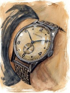 "sunflowermanfashion: ""BREAKING NEWS: The Longines Watercolour Watch Project, proudly brought to you by Time+Tide.Sunflowerman will be working exclusively with Time+Tide watch magazine at Baselworld,. Fashion Sketches, Art Sketches, Art Drawings, Industrial Design Sketch, Sketch Painting, Vintage Men, Watercolor Art, Illustration Art, Jewelry Illustration"