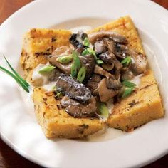 Grilled Polenta with Mushroom Sauce- use best recipe book instead