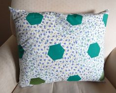 Cushion - Hand sewn hexagon patchwork in vintage fabric £13.95