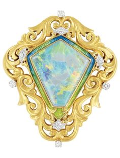 Art Nouveau Gold, Platinum, Opal, Enamel and Diamond Brooch, Shreve, Crump & Lowe Co. The pierced stylised shield brooch of scroll motif, centring one modified shield-shaped opal approximately 22.5 x 20.0 x 5.6 mm., framed by greenish-yellow and blue enamel, tipped and accented by 8 old European-cut diamonds, signed S.C. & L. Co., circa 1900. #opalsaustralia