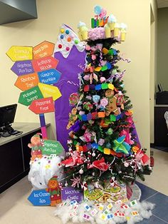 candyland christmas at the new englewood branch christmas tree ideas xmas tree christmas - Office Christmas Tree Decorating Ideas