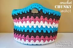 Free Pattern for a Crochet Chunky Basket.  I would love to do this with recycled t-shirts and make it really big!