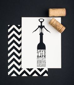 Save The Date, Wine Country Chevron Stripe