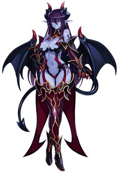 absurdres bare shoulders black sclera blue skin blush breasts cleavage demon (monster girl encyclopedia) demon girl demon horns demon tail demon wings elbow gloves full body gloves highres horns kenkou cross large breasts long hair looking at viewer Fantasy Girl, Chica Fantasy, Fantasy Women, Ange Demon, Demon Art, Fantasy Character Design, Character Art, Character Ideas, Fantasy Characters