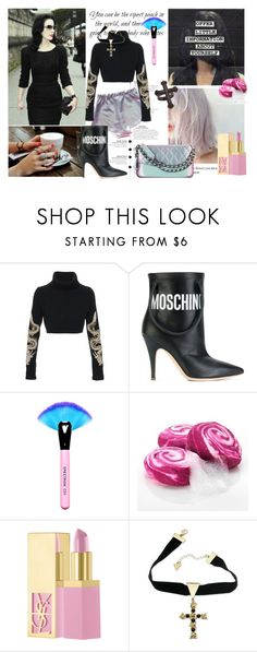 """you desire"" by nataal ❤ liked on Polyvore featuring Dita Von Teese, Horiyoshi the Third, Moschino, Chanel, PUR, GUESS and KATIE Design"