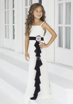 A-line Straps Empire Junior Bridesmaid Dresses