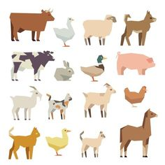 Pets and farm animals flat icons. $5.00