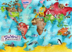 WORLD Map for kids 18 x 24 inch turquoise by marleyungaro on Etsy