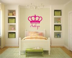 Princess Crown Name Vinyl Wall Decals  Crown by BlueCoutureDesign, $25.00