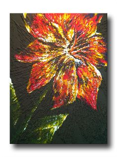 """To the Sun"" - 11""X14"" Acrylic Painting with Glass Beads Texture Gel on a Floating Canvas"