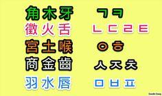 korean word arrangement map, 牙 molar tooth 木 tree, 舌 tongue 火 fire, 喉 throat 土 soil, 齒 tooth 金 element , 唇 lip 水 water