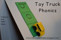 Toy trucks and toy cars are fun tools for helping kids learn how to sound out words.