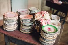 Vintage plates:) my mater's idea was for mismatched vintage china for a wedding.