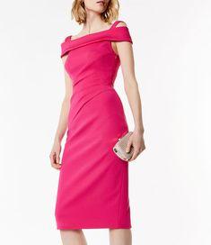 Karen Millen, Bardot Pencil Dress Fuchsia 1