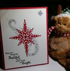 Stampin' UP! Star of Light stamps set & thinlits makes this lovely Christmas card. Real Red cardstock, layered with Shimmery White on the front & Whisper White on the inside. For more ideas and product info please visit my website at http://www.stampinup.net/esuite/home/suzy-q/
