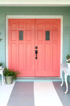 Loving these bright front doors! So easy to make a statement with bold front door paint choices using Curb Appeal paint. Such cheery front doors on a colorful porch. Coral Front Doors, Double Front Doors, Painted Front Doors, Front Door Colors, Front Door Decor, Painted Interior Doors, Black Interior Doors, Interior Paint, Home Decor Trends 2018