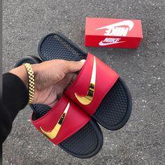 7d3c82543 Nike Benassi Swoosh Ironman Golden Check Slides - Pre Order