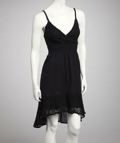 Take a look at this Black Crocheted Hi-Low Dress by Pink Apple on #zulily today!