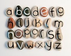 Alphabet Magnets, Beach Pebbles by Happy Emotions, Gift Ideas, Sea Stones… Rock Crafts, Diy And Crafts, Diy For Kids, Crafts For Kids, Alphabet Magnets, Kids Alphabet, Happy Emotions, Ideias Diy, Educational Toys For Kids