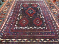 #62) Semi-antique Persian Afghar rug. 5 x 7