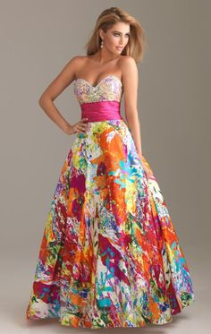 Floral strapless gown by Tony Bowls