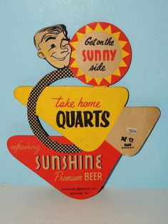 Vintage Sunshine Preminum Beer Reading, PA Cardboard Advertising Sign, Cut-Out