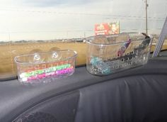 Use suction shower caddys on long car rides to store kids activities