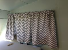 Gray Chevron RV Curtains | Making Curtains | RV Remodel | Nomadic Powers | Jil & Brannon Powers | www.nomadicpowers.com