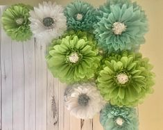 Giant sage, blue and white paper flower backdrop for bridal showers, baby showers, weddings, party decor and photo backdrops by MacaroniMinx on Etsy Paper Flower Backdrop Wedding, Bridal Shower Backdrop, Paper Flower Wall, Tissue Paper Flowers, Paper Daisy, Pink Paper, White Paper, Daisy Background, Paper Sunflowers