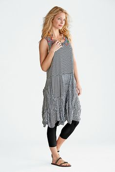 Isadora Dress – Black & White Pinstripe: Comfy USA: Knit Dress   Artful Home